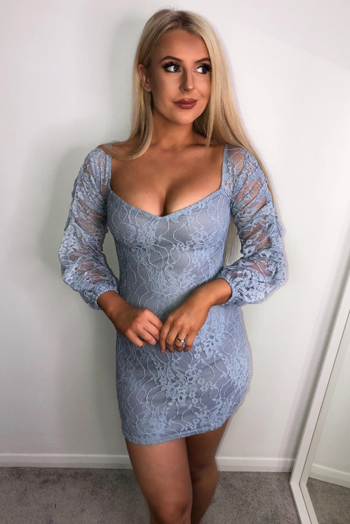 Blue Lace Sleeved Mini Dress