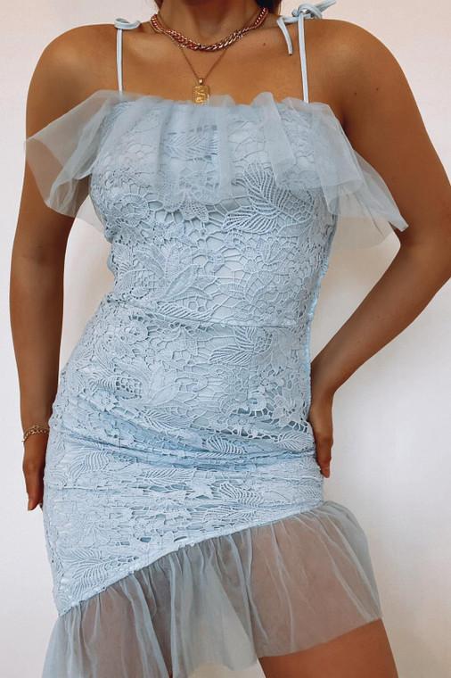 Blue Crochet Frill Edge Dress