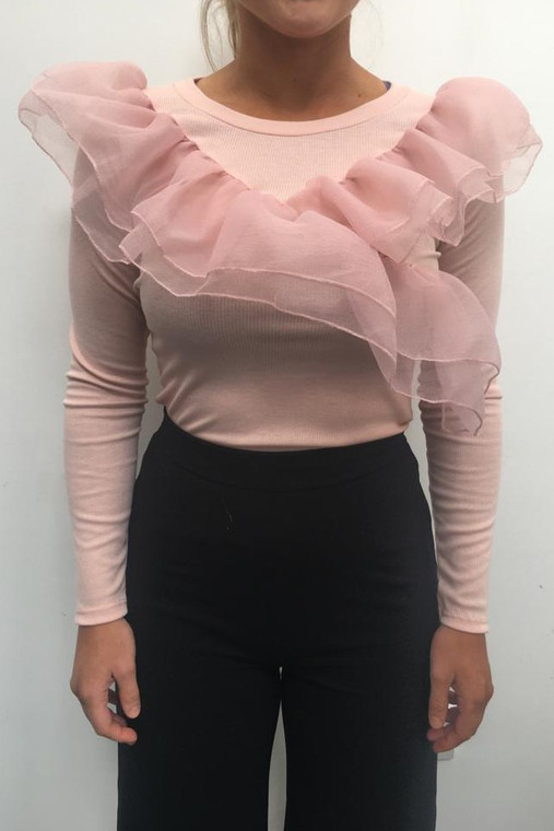 Pink Long Sleeve Ribbed Top With Frill Detail