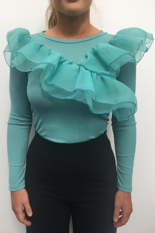 Green Long Sleeve Ribbed Top With Frill Detail