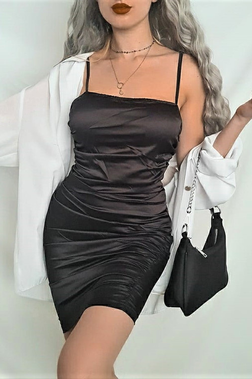 Black Ruched Satin Mini Dress