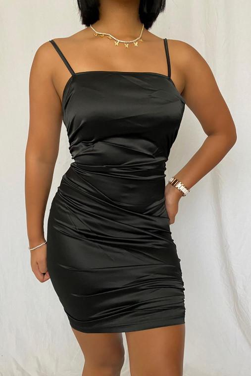 Black Ruched Satin Mini Dress
