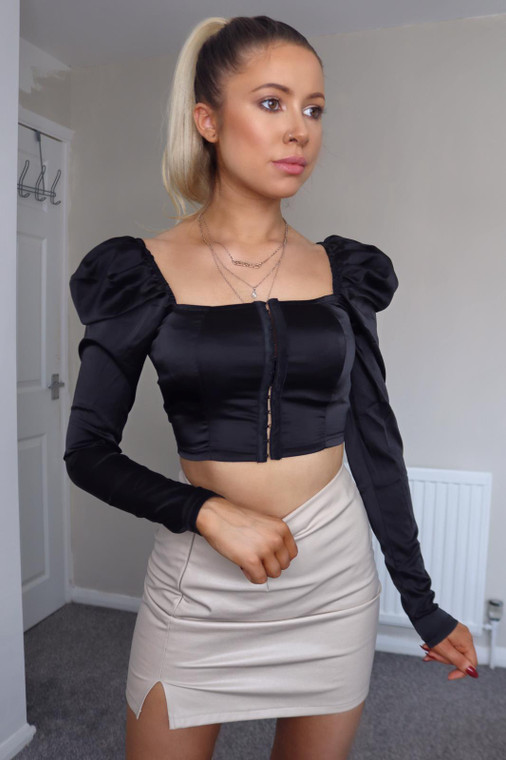 Black  Satin Hook-And-Eye Crop Top