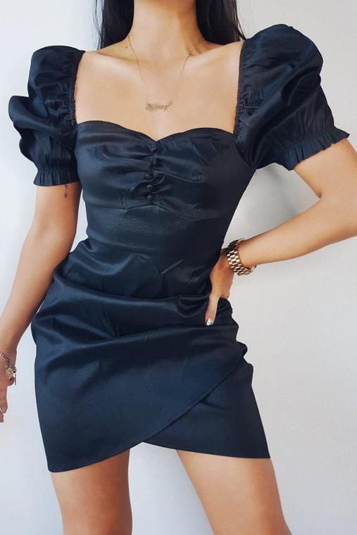 Black Puff Sleeve Ruched Mini Dress