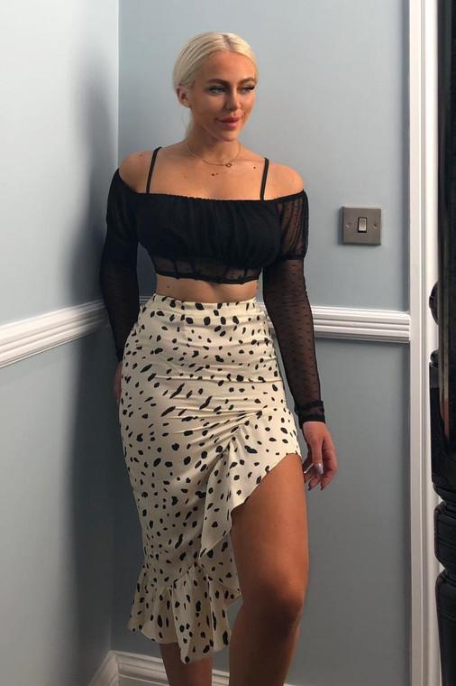 Stone Dot Frill Midi Skirt