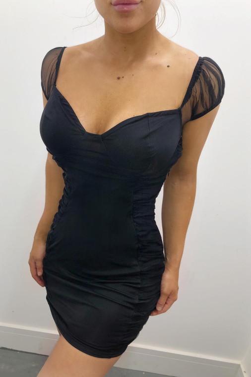 Black Bardot Ruched Mini Dress