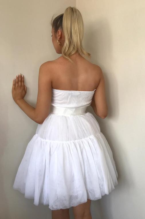 White Tulle Bandeau Skater Dress