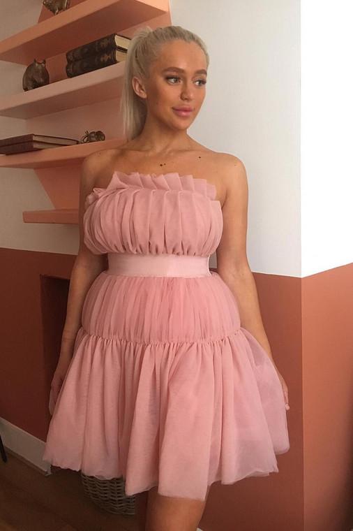 Pink Tulle Bandeau Skater Dress