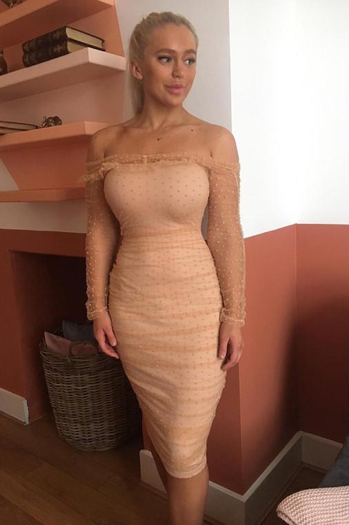 Nude Mesh Ruched Bardot Midi Dress