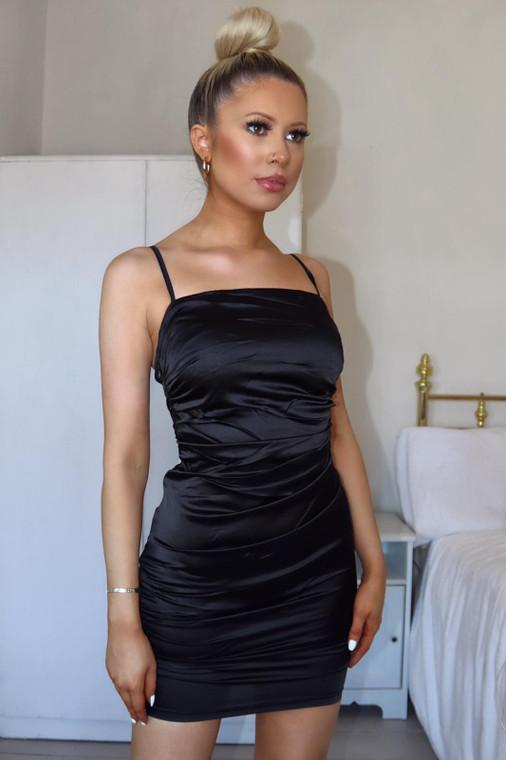 Black Ruched Satin Mini Dress (Promo pack)