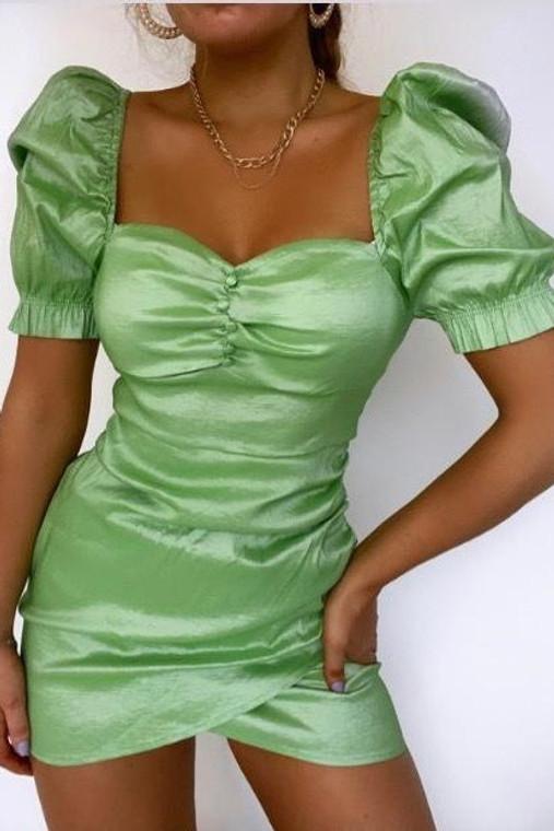 Green Puff Sleeve Ruched Mini Dress