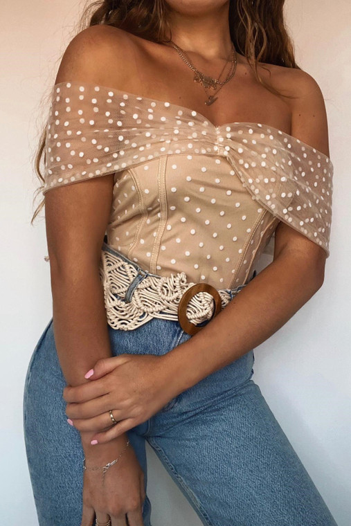 Nude Small Polka Dot Off Shoulder Bodysuit