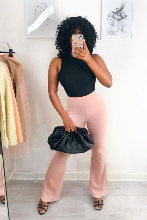 Pink Fit Flared Trousers