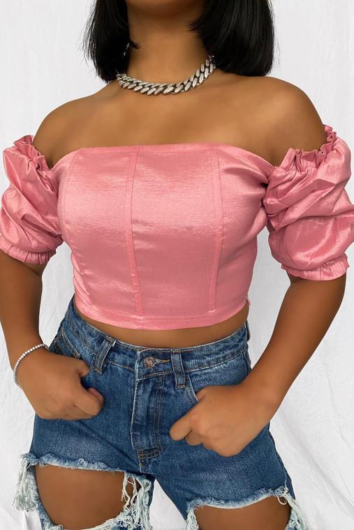 Pink Puff Sleeve Taffeta Bandeau Crop Top