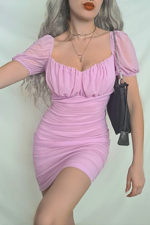Lilac Ruched Mesh Mini Dress