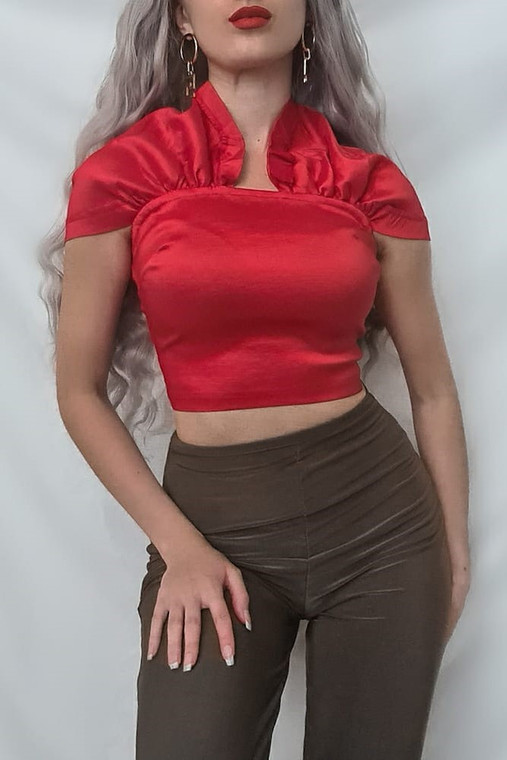Red Taffeta Bardot Crop Top