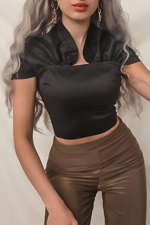 Black Taffeta Bardot Crop Top