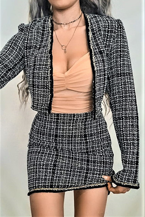 Black Boucle Cropped Blazer and Mini Skirt Co-ord
