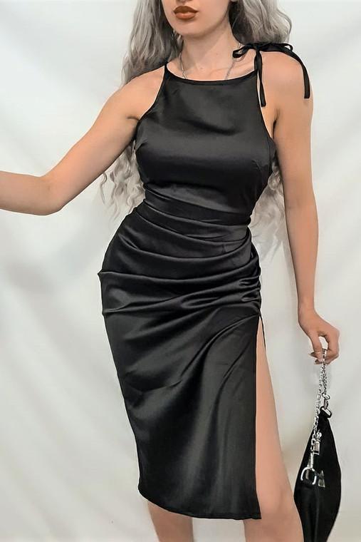 Black Tie Strap Satin Midi Dress