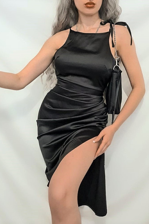 Black Tie Strap Satin Midi Dress
