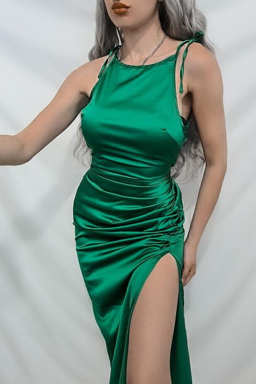 Green Tie Strap Satin Midi Dress