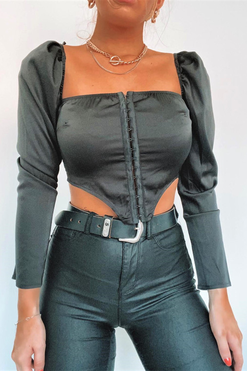 Black Satin Square Neck Hook and Eye Top