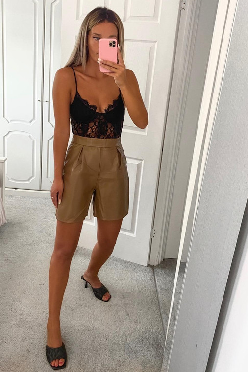 Camel PU Shorts