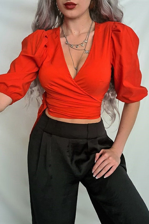 Red Plunge Neck Wrap Top