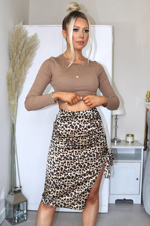 Leopard Print Thigh Split Midi Skirt