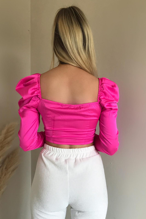 Pink Stretch Satin Hook-And-Eye Crop Top