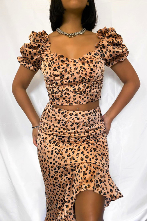 Peach Leopard Puff Sleeve Crop Top