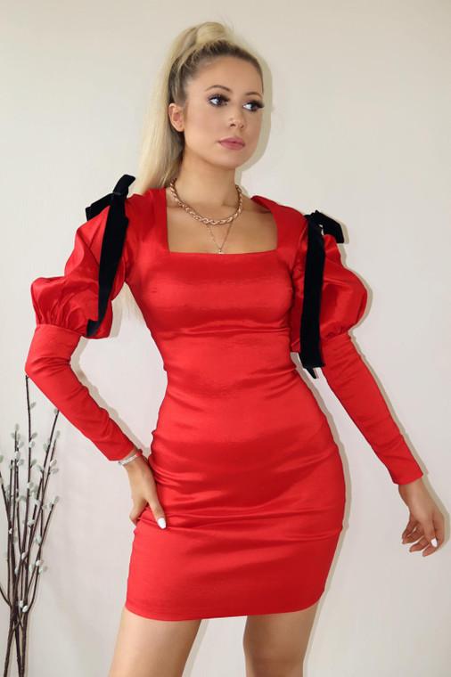 Red Taffeta Bow Mini Dress