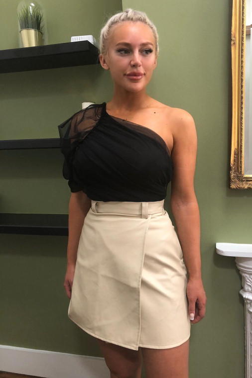 Stone PU Mini Skirt