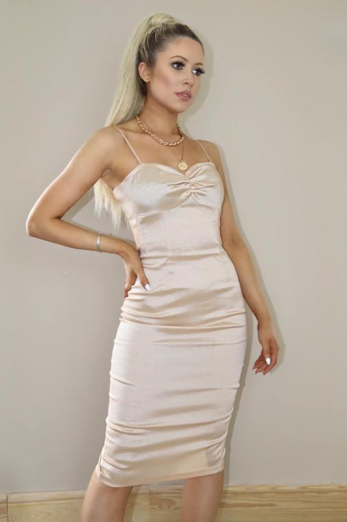 Nude Taffeta Bodycon Midi Dress