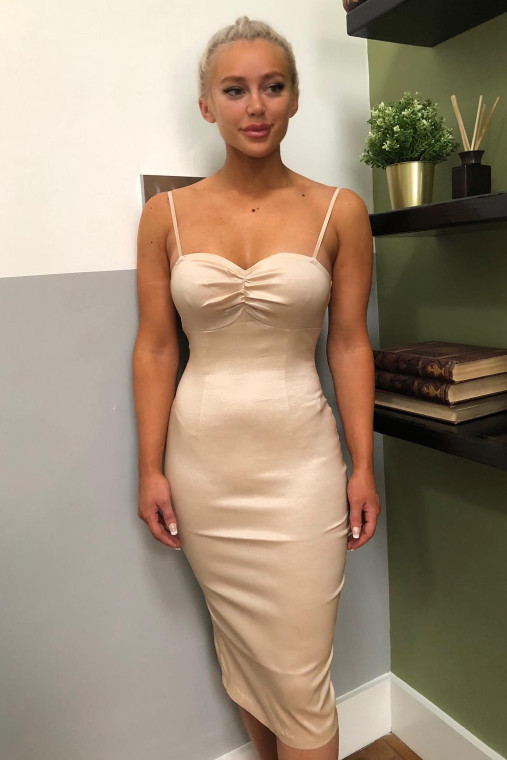 Nude Taffeta Bodycon Midi Dress