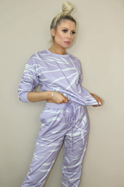 Mauve-Grey Top and Bottom Loungewear Set