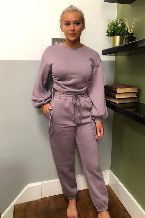 Mauve Drawstring Detail Top and Bottom Loungewear Set