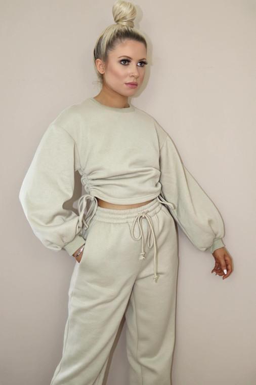 (SET) Beige Drawstring Detail Top and Bottom Loungewear Set