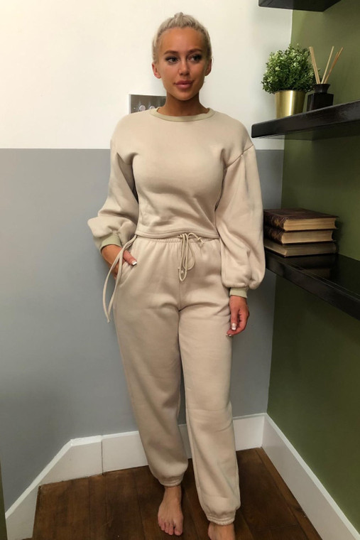Beige Drawstring Detail Top and Bottom Loungewear Set