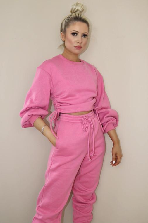 (SET) Pink Drawstring Detail Top and Bottom Loungewear Set