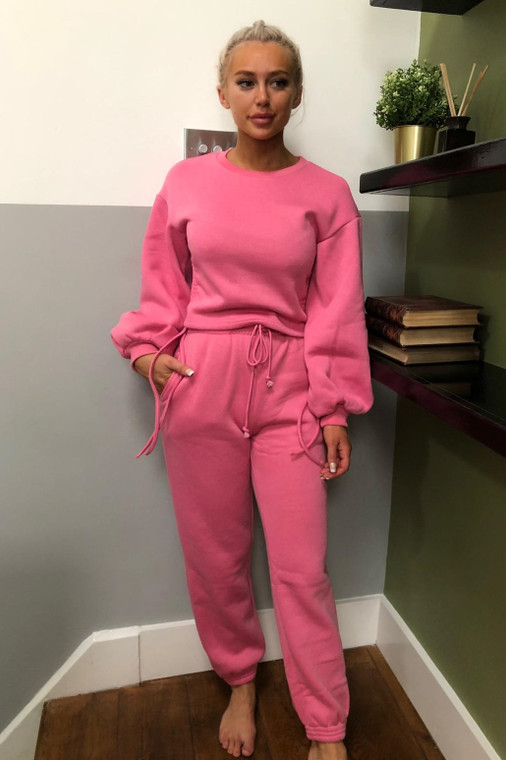 (SET) Pink Drawstring Detail Top and Bottom Loungewear Set
