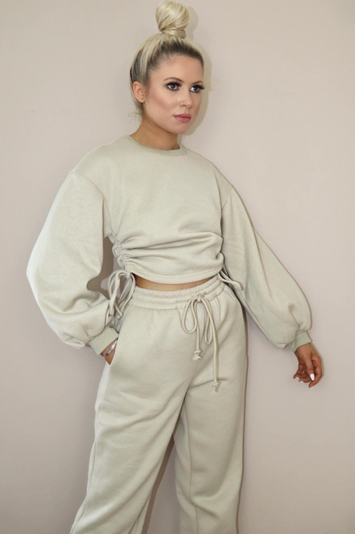 (TROUSER ONLY) Beige Drawstring Loungewear Trouser