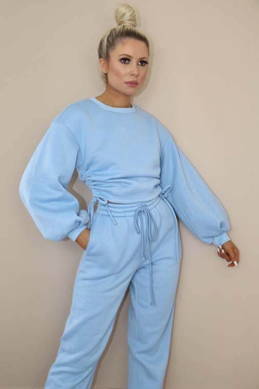 (TROUSER ONLY) Blue Drawstring Loungewear Trouser