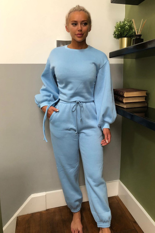 Blue Drawstring Loungewear Trouser