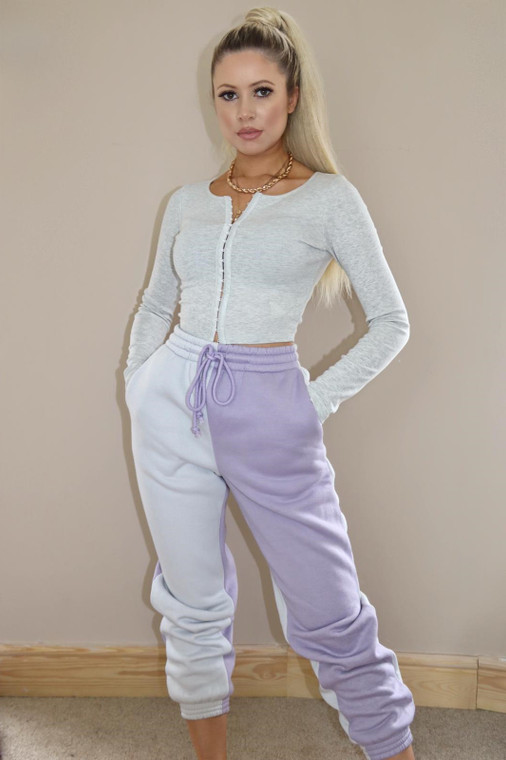 Mauve/Grey Colourblock Loungewear Trouser
