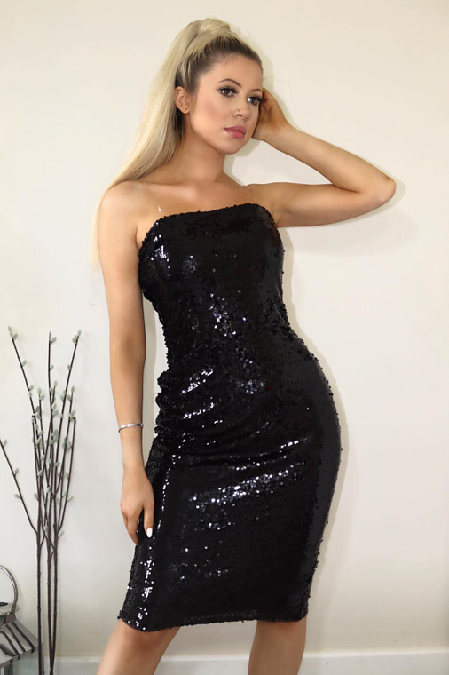 Black Bandeau Sequin Midi Dress
