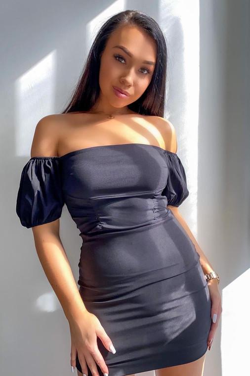 Black Puff Sleeve Stretch Mini Dress