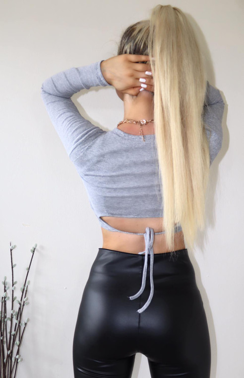 Grey Ribbed Jersey Tie Back Crop Top