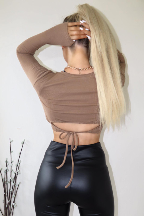 Tan Ribbed Jersey Tie Back Crop Top