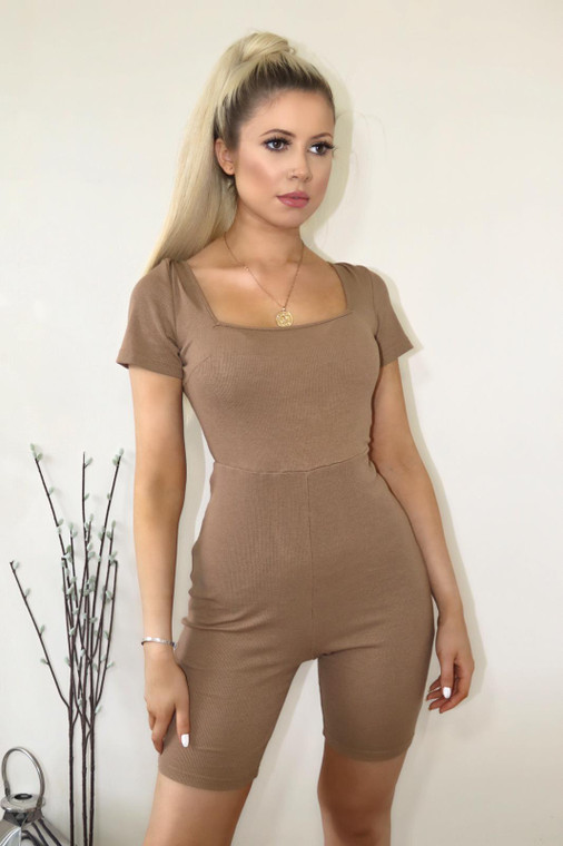 Tan Ribbed Jersey Lace Back Playsuit